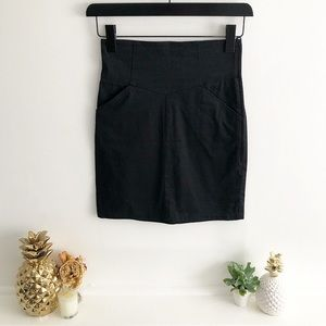 Paneled High Waisted Mini Skirt